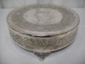 Where to rent CAKE STAND 18  ROUND ORNATE SILVER in Baltimore MD