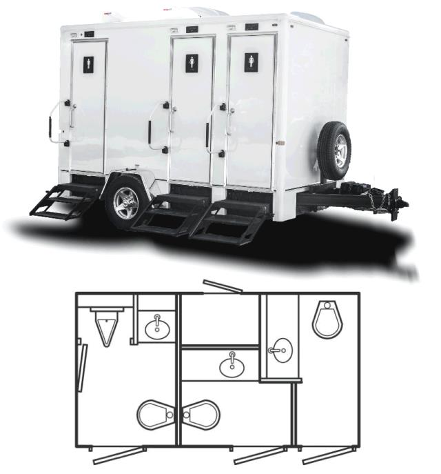 Where to rent PORTA RESTROOM - 12 -3 STALL TRAILER in Baltimore Maryland, Washington DC, Columbia MD, Westminster, Annapolis MD