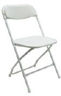 Where to rent PLASTIC FOLDING CHAIR - WHITE in Baltimore MD