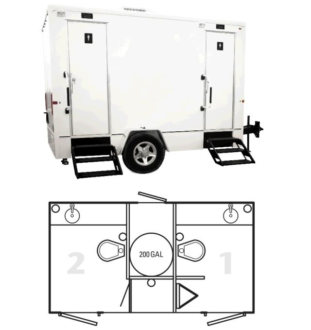 Where to rent PORTA RESTROOM - 12 -2 STALL TRAILER in Baltimore Maryland, Washington DC, Columbia MD, Westminster, Annapolis MD