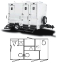 Where to rent PORTA RESTROOM - 12 -3 STALL TRAILER in Baltimore MD