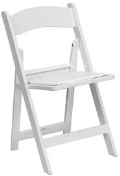 Where to rent RESIN FOLDING - WHITE W PADDED SEAT in Baltimore MD