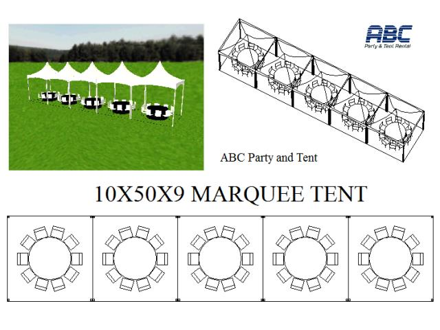 Where to rent MARQUEE TENT 10X50X9 in Baltimore Maryland, Washington DC, Columbia MD, Westminster, Annapolis MD