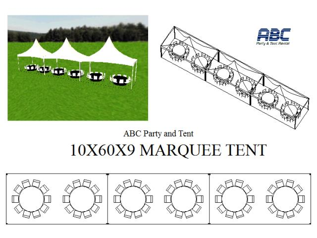 Where to rent MARQUEE TENT 10X60X9 in Baltimore Maryland, Washington DC, Columbia MD, Westminster, Annapolis MD